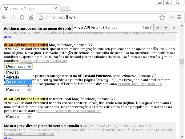 Google Chrome Flags Ativar API Instant Extended